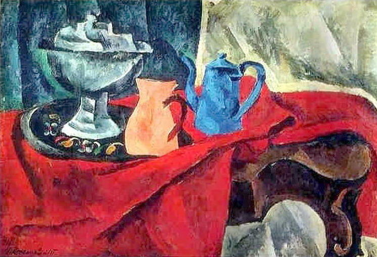 Vessels on the red tablecloth, 1916 by Pyotr Konchalovsky (1876-1956, Russia)