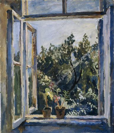 The window. Balsams., 1928 by Pyotr Konchalovsky (1876-1956, Russia)