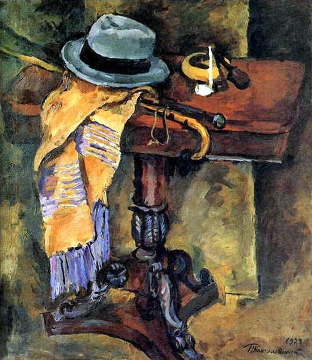 Still Life. Table with a hat., 1929 by Pyotr Konchalovsky (1876-1956, Russia)