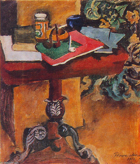 Still Life. Table, books, and the pipes., 1929 by Pyotr Konchalovsky (1876-1956, Russia)