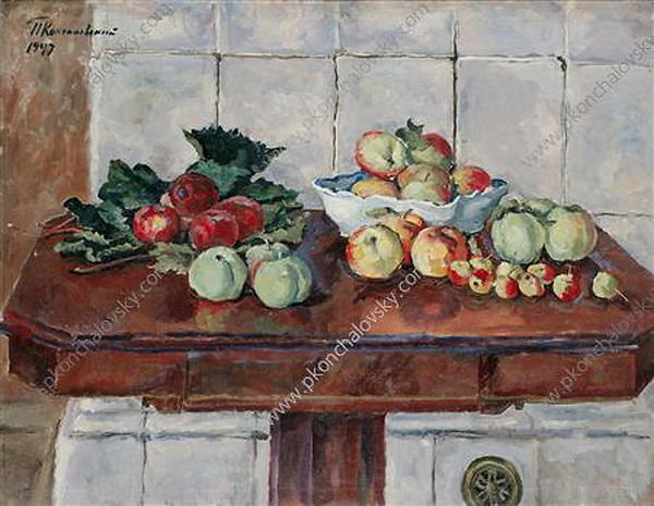 Still Life. Apples on a table near the stove., 1947 by Pyotr Konchalovsky (1876-1956, Russia)