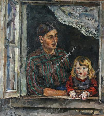 Mother and Child, 1928 by Pyotr Konchalovsky (1876-1956, Russia) | Museum Art Reproductions | ArtsDot.com