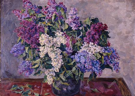 Still Life. Lilacs in the bucket., 1943 by Pyotr Konchalovsky (1876-1956, Russia)