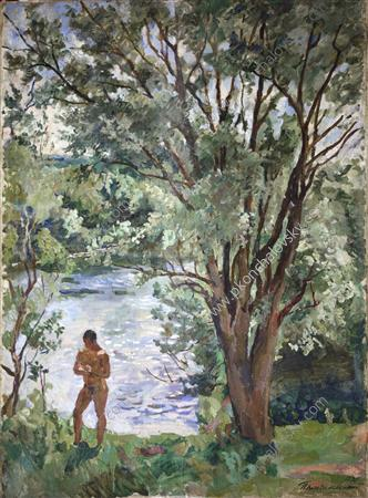 Volodya by the river, 1938 by Pyotr Konchalovsky (1876-1956, Russia) | Painting Copy | ArtsDot.com