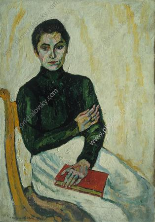 Pasha with the red book (on white), 1909 by Pyotr Konchalovsky (1876-1956, Russia) | Art Reproduction | ArtsDot.com