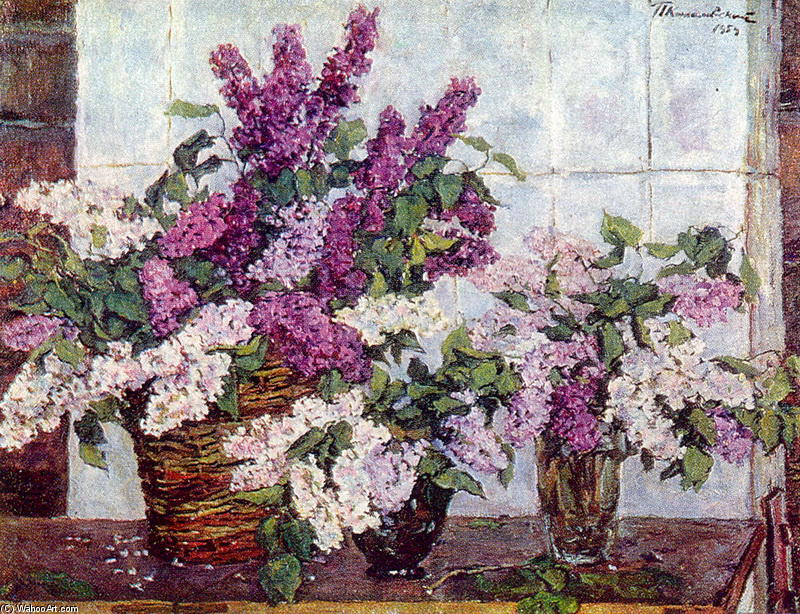 Still Life. Lilac, crystal vase and a basket., 1954 by Pyotr Konchalovsky (1876-1956, Russia)
