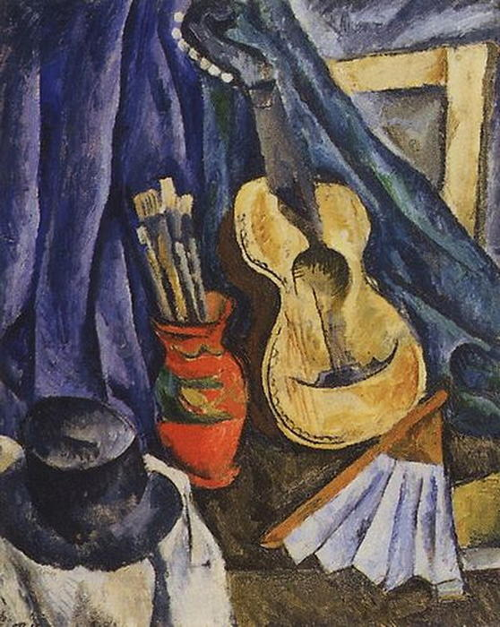 Still Life. The guitar., 1917 by Pyotr Konchalovsky (1876-1956, Russia)