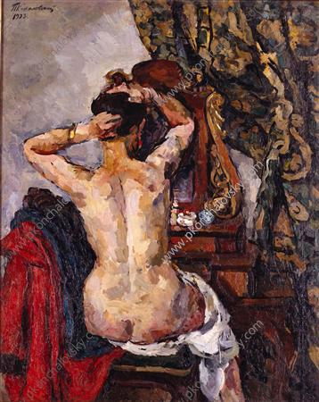 The woman in front of a mirror, 1923 by Pyotr Konchalovsky (1876-1956, Russia) | Oil Painting | ArtsDot.com