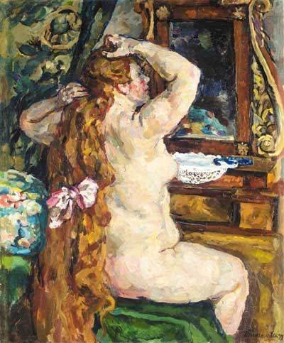 Model with red hair by the mirror, 1928 by Pyotr Konchalovsky (1876-1956, Russia) | ArtsDot.com