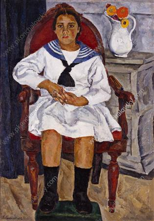 Natasha in a chair, 1915 by Pyotr Konchalovsky (1876-1956, Russia)