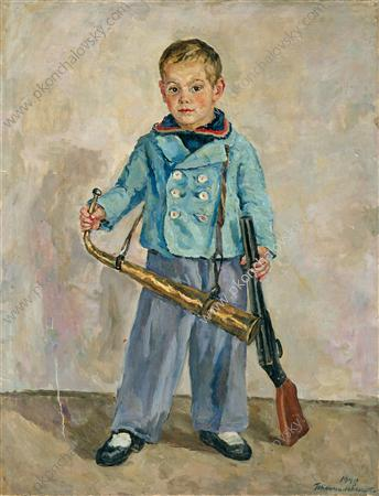 Boy with a Pipe (Andron Mikhalkov), 1940 by Pyotr Konchalovsky (1876-1956, Russia) | Oil Painting | ArtsDot.com
