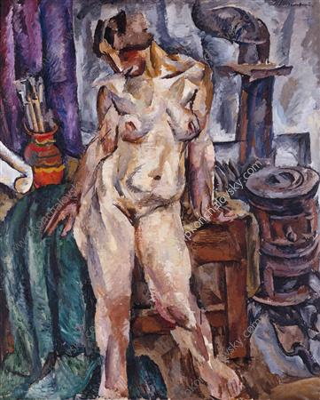 The Model by the stove, 1917 by Pyotr Konchalovsky (1876-1956, Russia) | Museum Quality Reproductions | ArtsDot.com