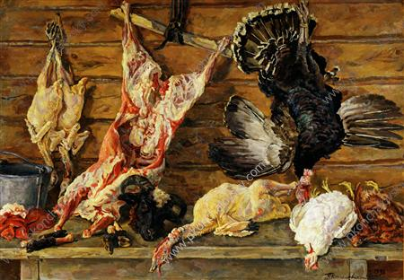 Still Life. Meat and poultry., 1936 by Pyotr Konchalovsky (1876-1956, Russia) | Art Reproduction | ArtsDot.com