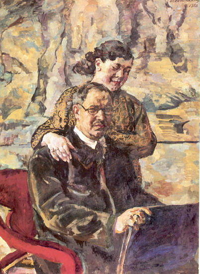 Self-portrait with wife, 1928 by Pyotr Konchalovsky (1876-1956, Russia) | Museum Art Reproductions | ArtsDot.com