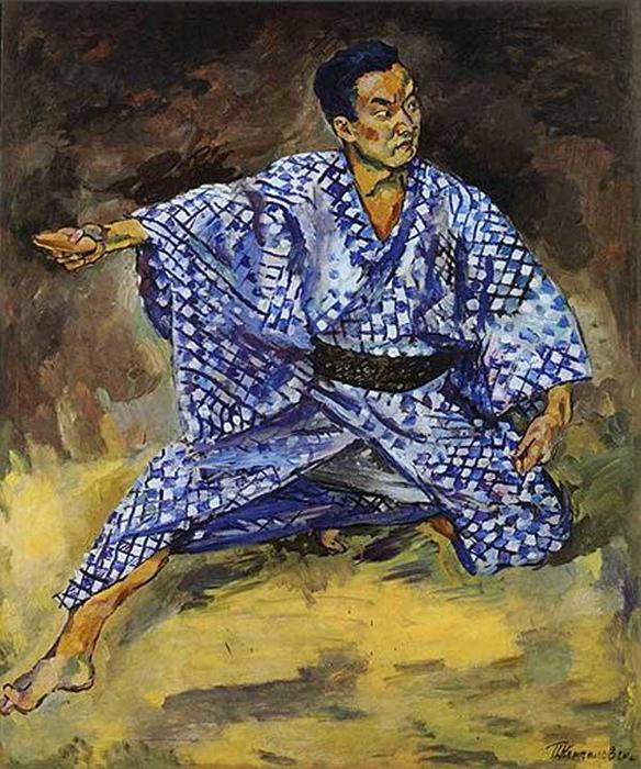Portrait of a Japanese actor Todzyuro Kavarasaki, 1928 by Pyotr Konchalovsky (1876-1956, Russia)