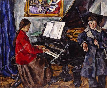 Children at the piano, 1919 by Pyotr Konchalovsky (1876-1956, Russia)