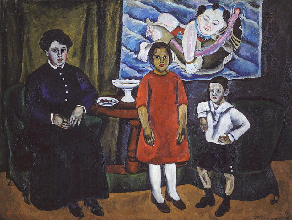 Family Portrait (against Chinese panel), 1911 by Pyotr Konchalovsky (1876-1956, Russia)