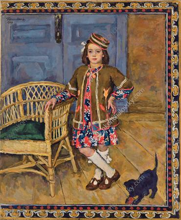 The girl in the Caucasus dress with a cat (Margot), 1948 by Pyotr Konchalovsky (1876-1956, Russia)