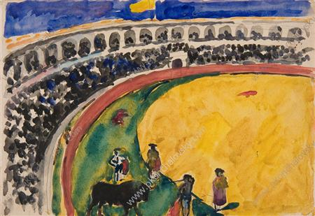 Bullfight in Sevilla, Watercolour by Pyotr Konchalovsky (1876-1956, Russia)