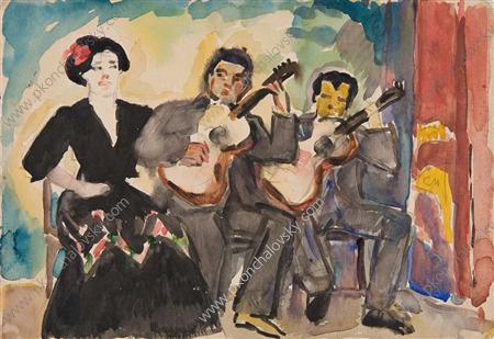 Two guitarists and singer, Watercolour by Pyotr Konchalovsky (1876-1956, Russia)