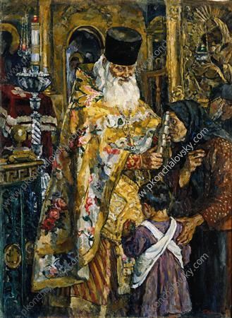 In the cathedral of Yuryev (Abbot Bessarion), 1926 by Pyotr Konchalovsky (1876-1956, Russia) | ArtsDot.com