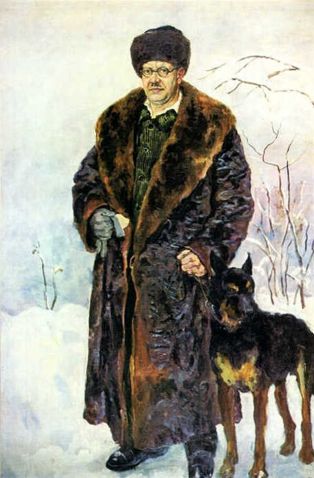 Self-portrait with dog, 1933 by Pyotr Konchalovsky (1876-1956, Russia)