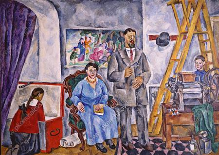 In the studio. Family Portrait., 1917 by Pyotr Konchalovsky (1876-1956, Russia)