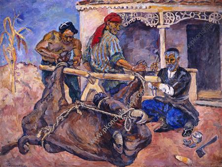 Forging of buffalo, 1927 by Pyotr Konchalovsky (1876-1956, Russia)