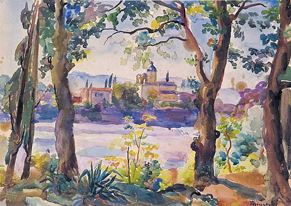 Monastery in the distance by Pyotr Konchalovsky (1876-1956, Russia)