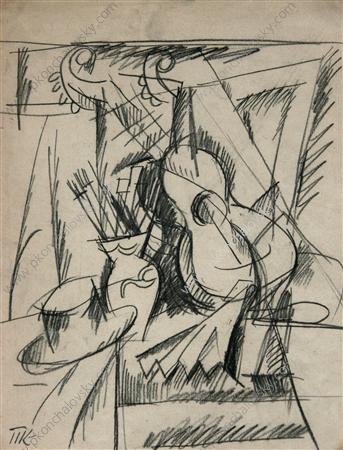 Sketch a still life with guitar, 1917 by Pyotr Konchalovsky (1876-1956, Russia)