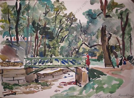 Kislovodsk. The bridge in the park., 1938 by Pyotr Konchalovsky (1876-1956, Russia)