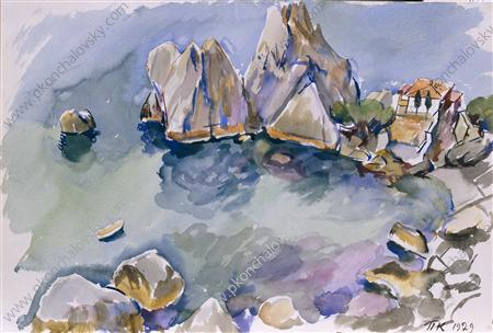 Crimea. The rocks by the sea., Watercolour by Pyotr Konchalovsky (1876-1956, Russia)