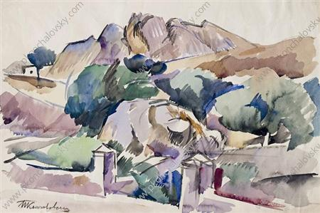 Gurzuf. The mountains., Watercolour by Pyotr Konchalovsky (1876-1956, Russia)