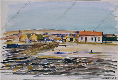 State Farm in Balaclava, Watercolour by Pyotr Konchalovsky (1876-1956, Russia)