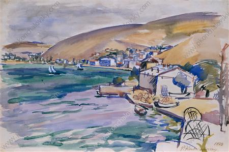 Balaklava. View of the city and the bay., Watercolour by Pyotr Konchalovsky (1876-1956, Russia)