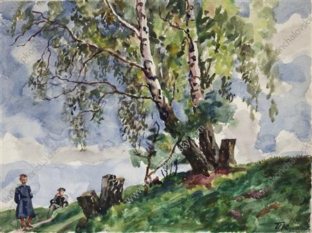 Birches in the Knobs, 1941 by Pyotr Konchalovsky (1876-1956, Russia) | Museum Quality Reproductions | ArtsDot.com