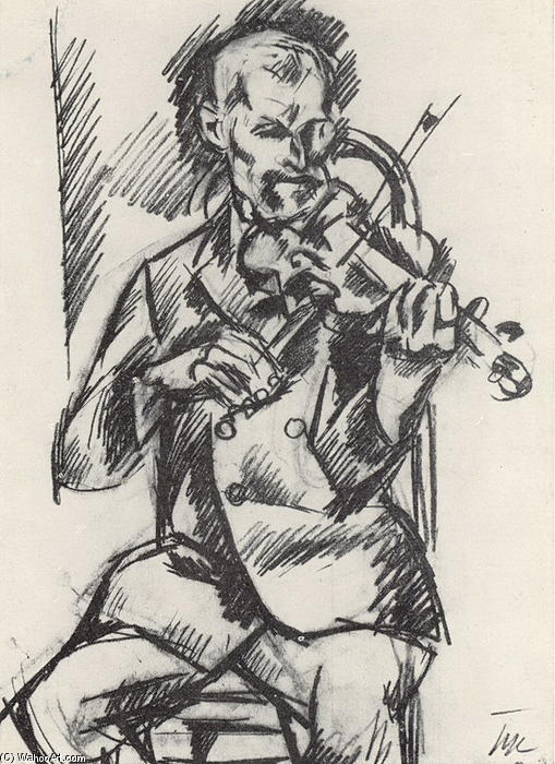 Violinist, 1918 by Pyotr Konchalovsky (1876-1956, Russia) | Art Reproduction | ArtsDot.com