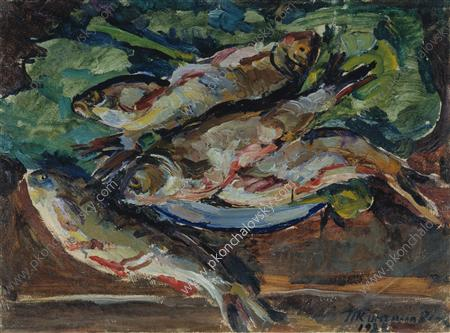 Still Life. Cleaned fish., 1928 by Pyotr Konchalovsky (1876-1956, Russia)