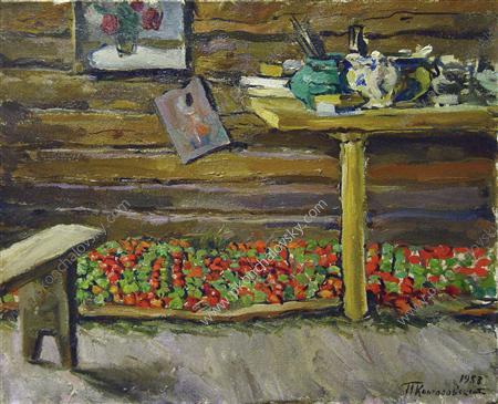 A workshop. Tomatoes on the bench., 1953 by Pyotr Konchalovsky (1876-1956, Russia) | Oil Painting | ArtsDot.com