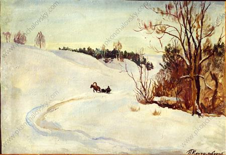 Winter road. The evening., 1931 by Pyotr Konchalovsky (1876-1956, Russia)