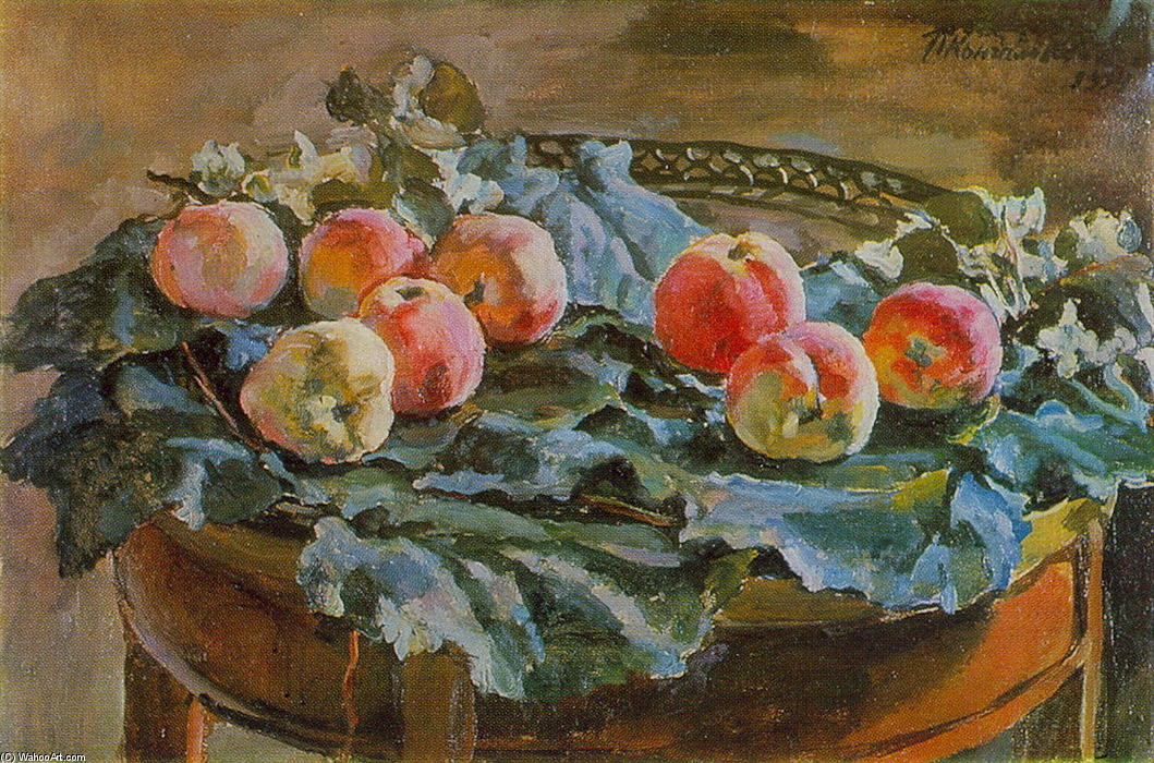 Still Life. Apples at the roundtable., 1934 by Pyotr Konchalovsky (1876-1956, Russia)
