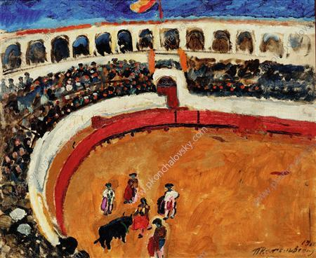 Bullfight in Sevilla, 1910 by Pyotr Konchalovsky (1876-1956, Russia)