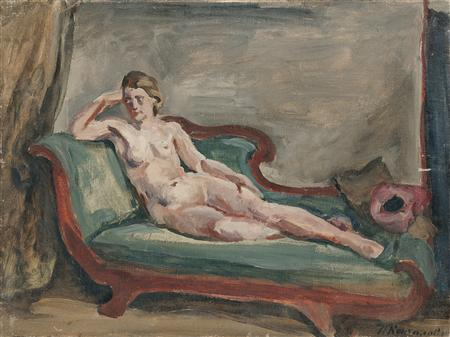 The Model. Sketch for painting 'Woman on the couch. '', 1930 by Pyotr Konchalovsky (1876-1956, Russia)