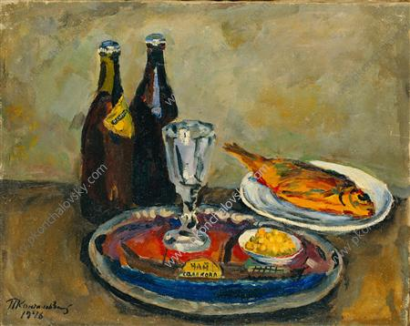 Still Life. Beer and roach., 1946 by Pyotr Konchalovsky (1876-1956, Russia)