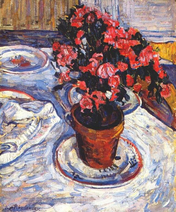 Paris. Azaleas in a pot., 1908 by Pyotr Konchalovsky (1876-1956, Russia)