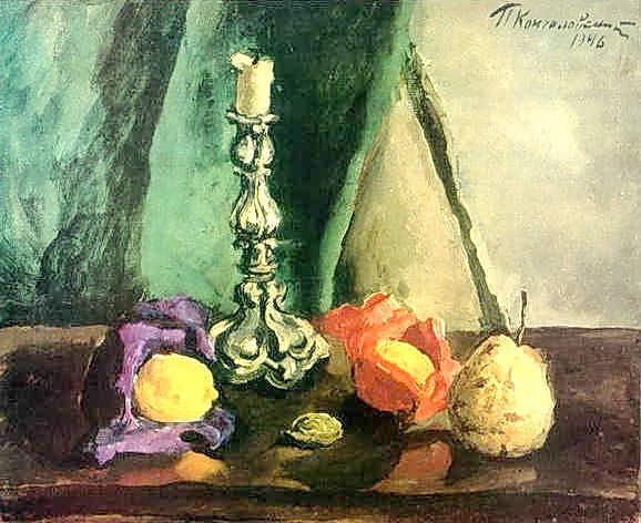 Still Life. Candlestick and pear., 1946 by Pyotr Konchalovsky (1876-1956, Russia)