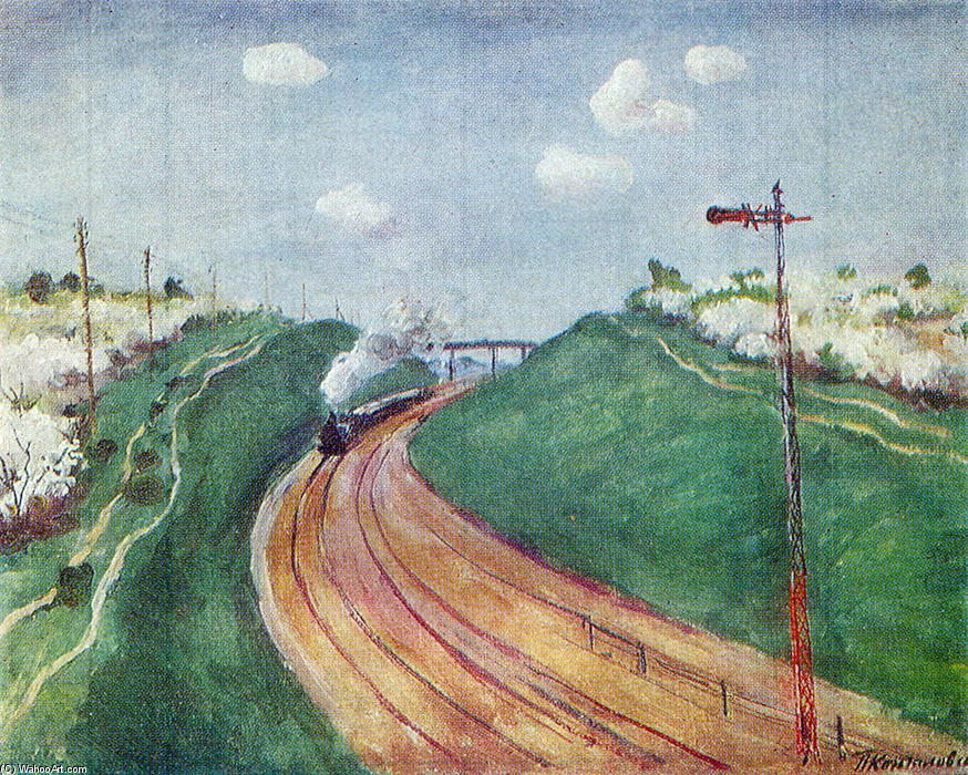 Spring Landscape with train, 1931 by Pyotr Konchalovsky (1876-1956, Russia)