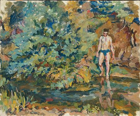 Bathing boy, 1928 by Pyotr Konchalovsky (1876-1956, Russia) | Museum Art Reproductions | ArtsDot.com