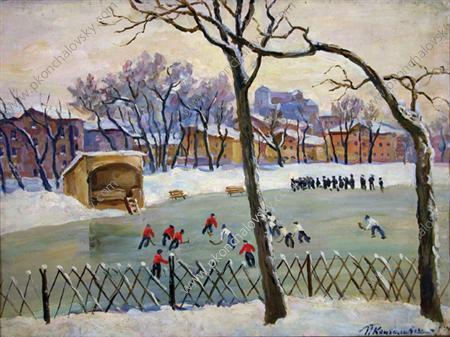 At the rink, 1945 by Pyotr Konchalovsky (1876-1956, Russia)