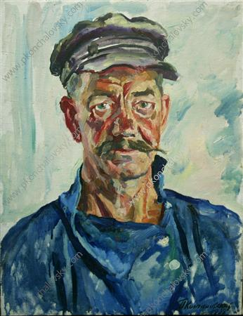 Portrait of worker Yakobchenko, 1938 by Pyotr Konchalovsky (1876-1956, Russia) | Art Reproduction | ArtsDot.com